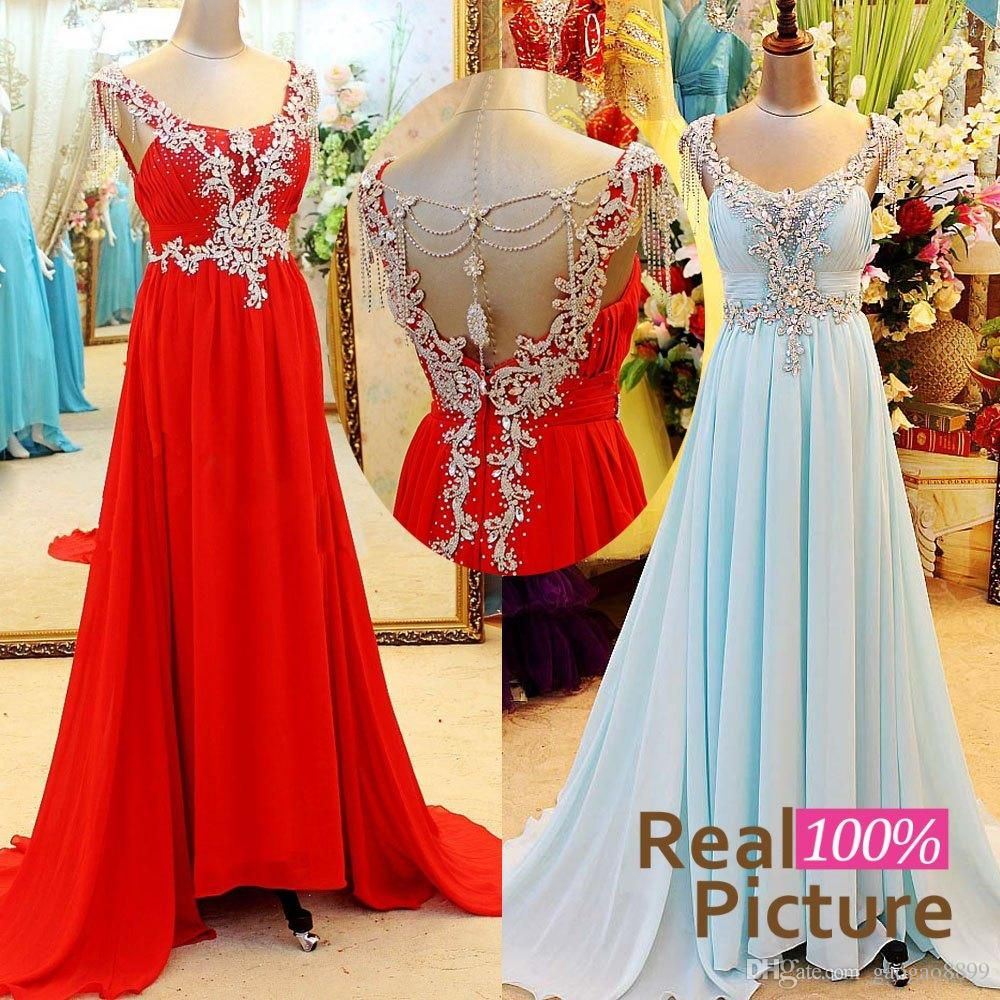 Real image light sky blue red chiffon crystal prom dresses for party
