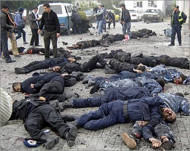 "This picture is showing the victims of an Israeli attack on the building of the Palestinian police corps. The video of this crime is showing severely maimed bodies of killed Palestinian policemen. They were targeted while standing in front of their police station.   Israel convicted of war crimes: ""From 1948 and continuing to date the State of Israel carried out against the Palestinian people a series of acts namely killing, causing serious bodily harm and deliberately inflicting conditions…"