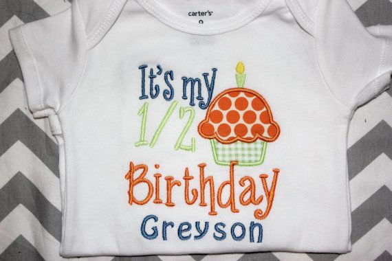 Personalized Boys Half Birthday 6 Month Picture Shirt