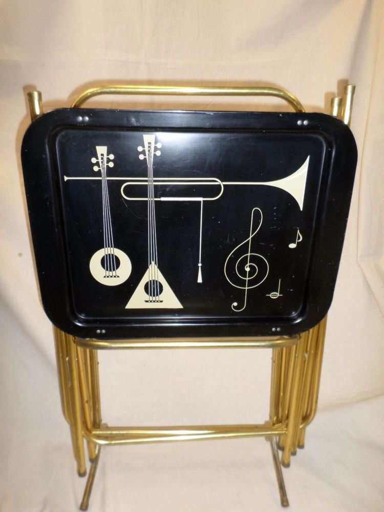 Vintage Retromid Century Metal Tv Trays Set Of Four 4 With