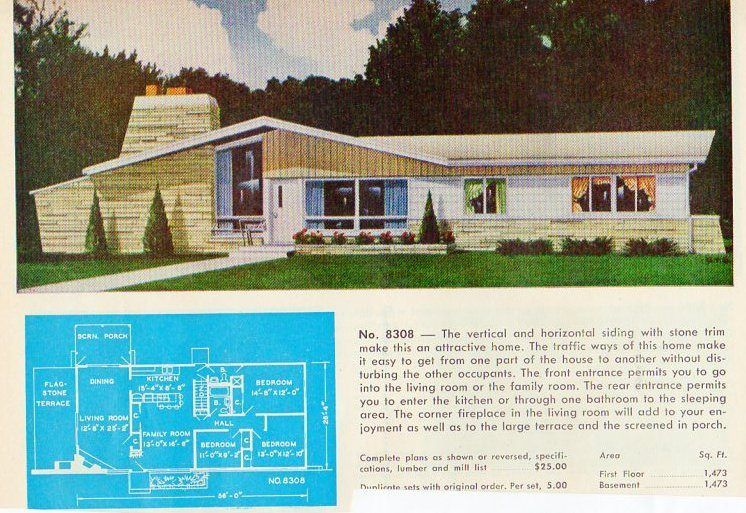 garlinghouse plan no 8308 - The Redwood House Plans 1960s