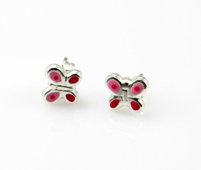 03634d63ea8f  Pendientes para niña mariposas rosas de Plata de ley   Joyeria online