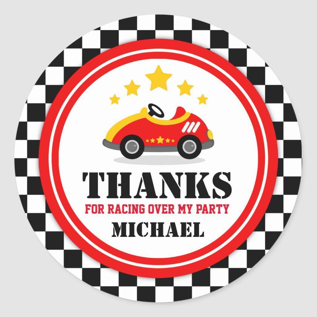 Race Car Thank You Favor Tag | Zazzle.com