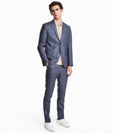 Blue Melange Suit Pants In Melange Linen With An Extended