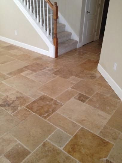 Brushed Chiseled Ivory Travertine French Pattern Installed