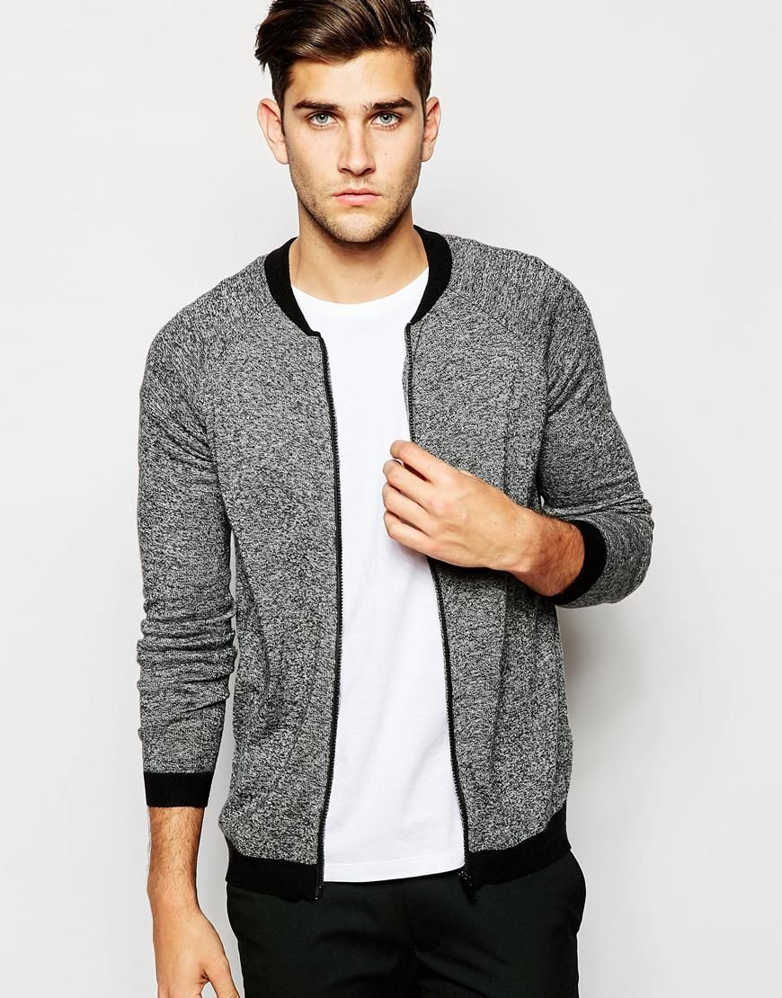 Image 1 of ASOS Knitted Bomber Jacket in Merino Wool Mix