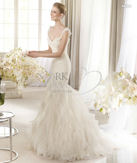 RK Bridal in NYC: San Patrick Spring 2013 - Arola  Fit and flare morbito tulle and organza gown with flower applications and beading. Shown with morbido tulle veil style V-2714, sold separately.