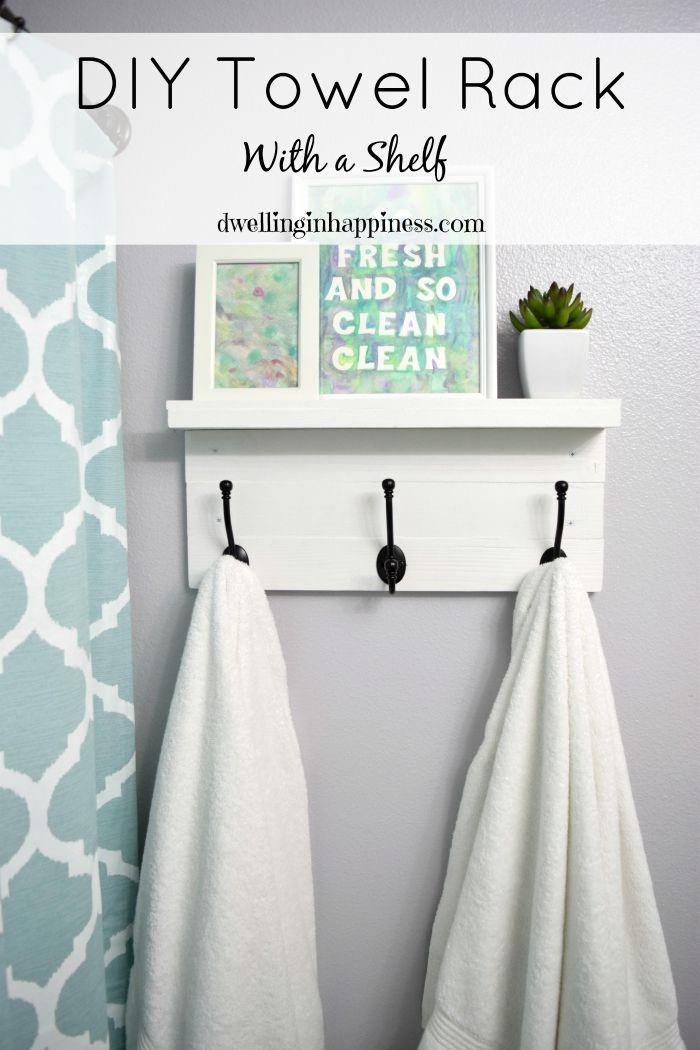 DIY Towel Rack With A Shelf Shelves Nice And Ideas For Bathrooms - Funky bath towels for small bathroom ideas