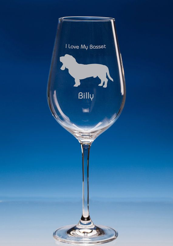 Basset Hound Dog Lover Gift Engraved Personalised Wine Glass, Basset Birthday Gift, Basset Glass, Basset Lover Gift, Basset Dog Glass