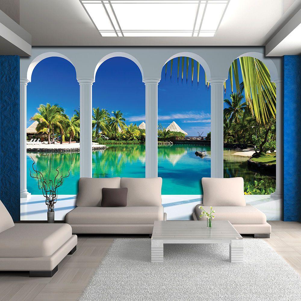 Blick Wandbild Tapeten Fototapete Tapete Palmen Rose Natur Meer 3fx2357p4 Eur 16 90 Evler Dekor Dekorasyon