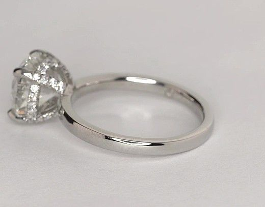 cb24a07f64398 Studio French Pavé Diamond Crown Solitaire Engagement Ring in ...