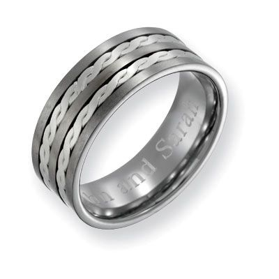 Men S 8 0mm Engraved Titanium With Sterling Silver Twist Inlay