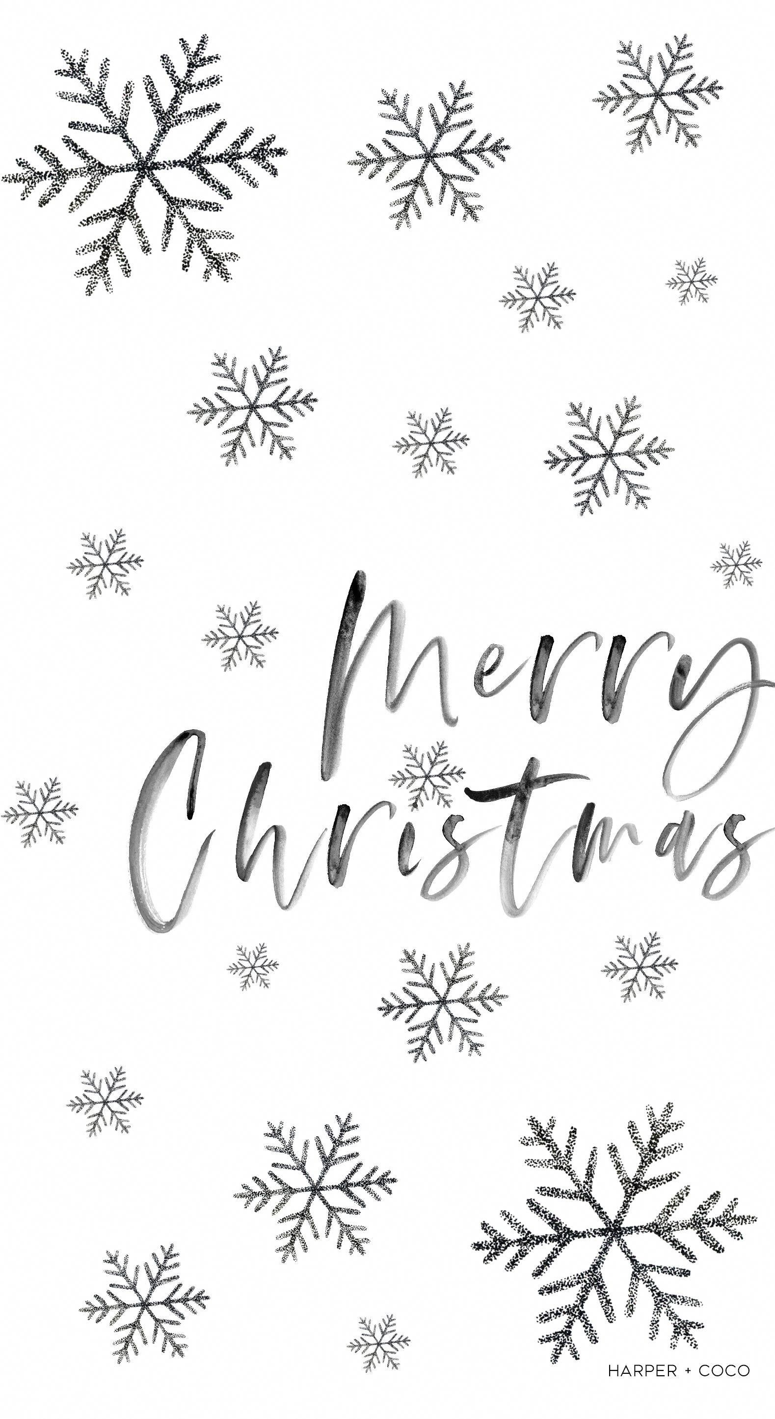 Merry Christmas Iphone Wallpaper Black And White Snowflakes Wallpaper Christmas Christmas Phone Wallpaper Wallpaper Iphone Christmas Snowflake Wallpaper
