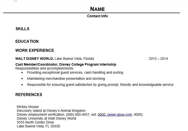 Writing Your Dcp Resume Disney College Program Disney College Resume