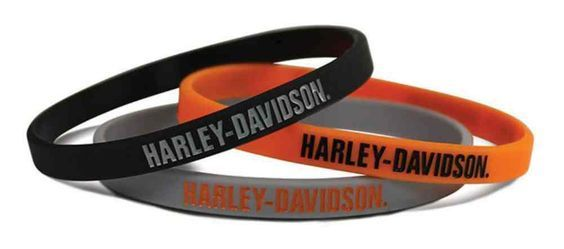 Harley-Davidson® H-D Script Silicone Wristbands, 3 Pack Black/Orange/Gray WB51664