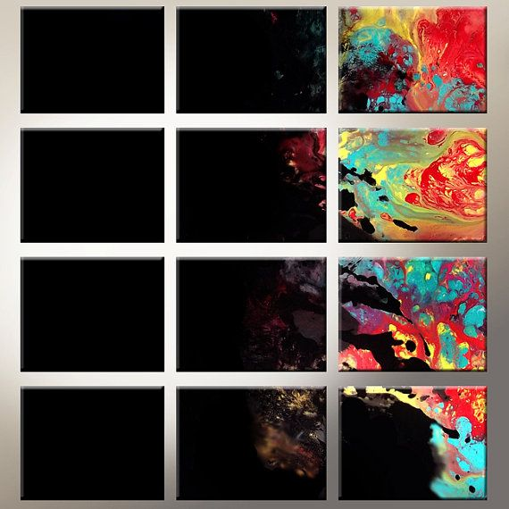 12pc Abstract Canvas Art Set  32 Contemporary by wostudios on Etsy, $199.00