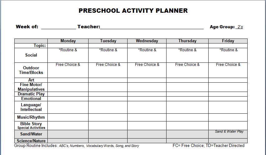 Images Of Preschool Lesson Plans Preschool Lesson Plan Template - Lesson plan template for preschool