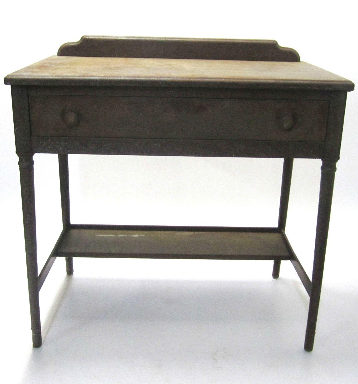 vintage industrial simmons metal side table. Vtg Antique 1920s 1930s Simmons Metal Wood Look Fireproof Furniture Desk Drawer Vintage Industrial Side Table