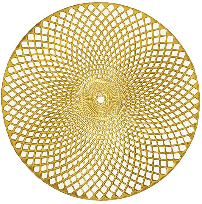 Amazon Com Kashi Home Holiday Decorative 15 Round Vinyl Spiral Placemat Set Of 4 Gold Home Kitchen Gold Placemats Placemats Woven Placemats