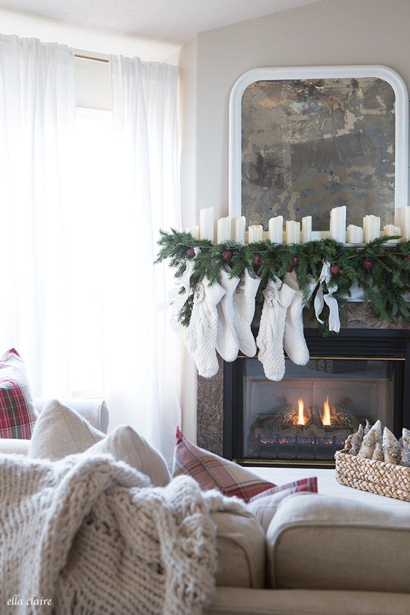 white stockings hanging by the fireplace | Holidays | Pinterest ...