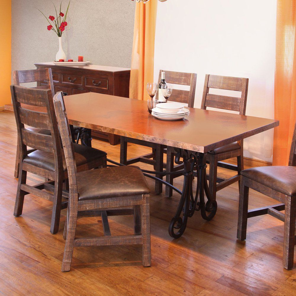 Valencia Rectangular Copper Top Dining Table Dark Brown Www