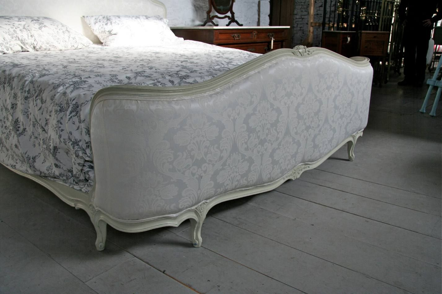 super king size french corbielle upholstered bed photo angle 2