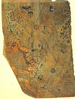 In 1929, a group of historians found an amazing map drawn on a gazelle skin.  Research showed that it was a genuine document drawn in 1513 by Piri Reis, a famous admiral of the Turkish fleet in the sixteenth century.