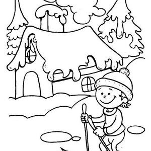 Winter, Little Kid Learning How To Play Ski On Winter Coloring Page ...