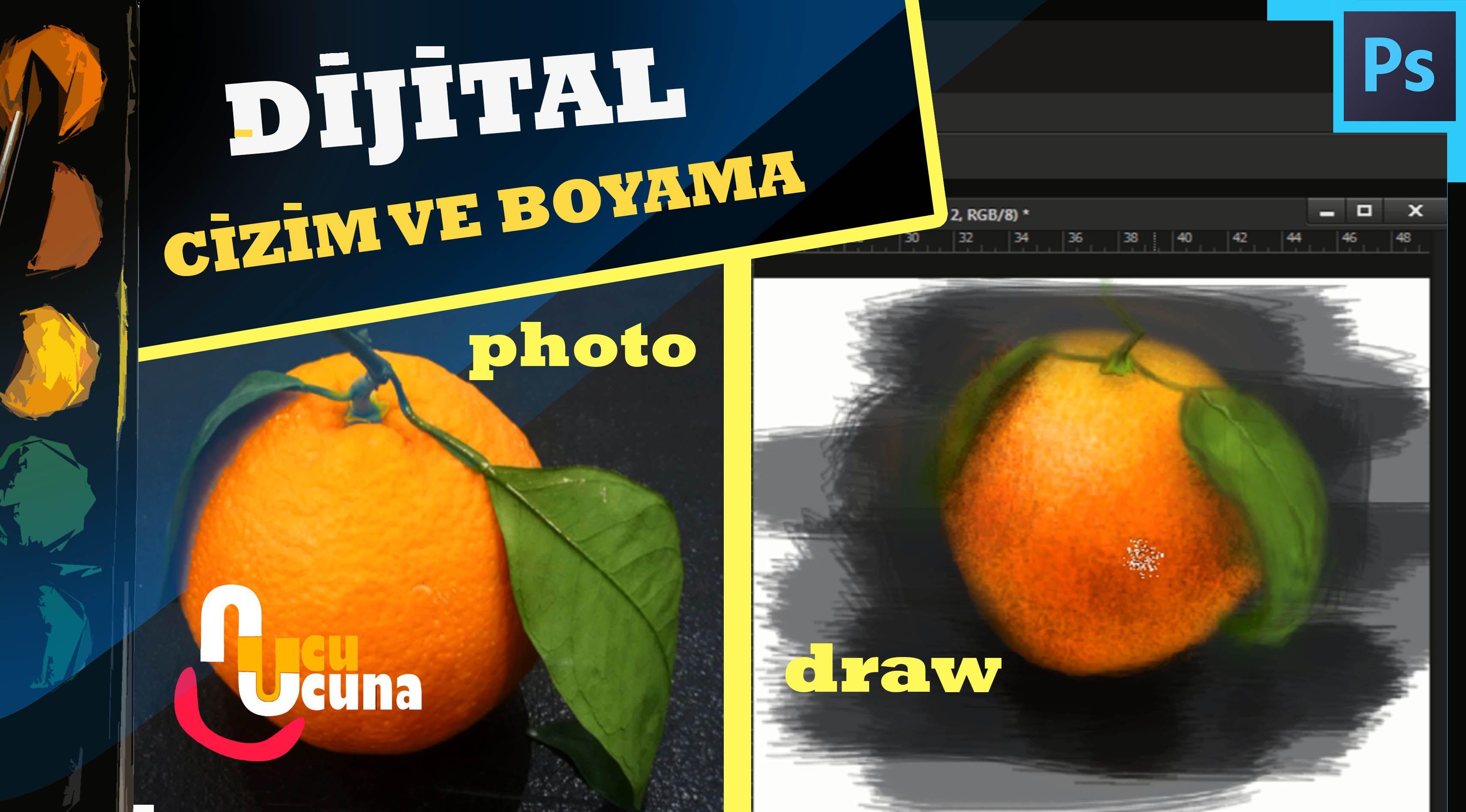 Naturmort Portakal çizimidijital çizim Ve Boyama Dersleri 4