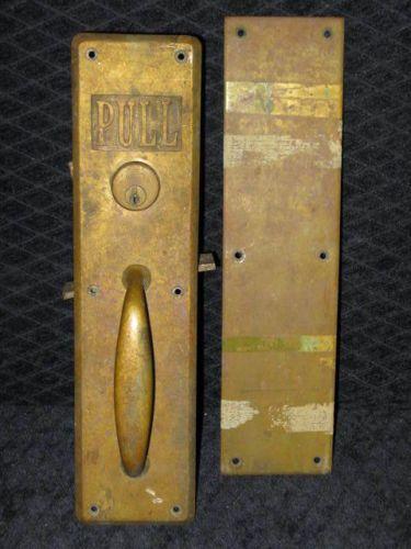 Antique Corbin Hvy Brass Main St Door Lock Key Push Plate Pull Handle Salvage Bottle Opener Wall Pull Handle Door Locks