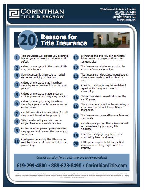 20 Reasons For Title Insurance Corinthian Title Escrow Bill