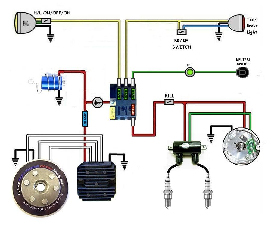 kick start only? and a wiring diargam for dummies - Page 2 - XS650 on harley light housing diagram, harley electric starter diagram, hunter light wiring diagram, harley electrical diagram, ford light wiring diagram, harley light bulb chart,
