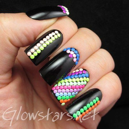 Featuring Born Pretty Store Round Neon Studs #nails #black #colorful #polish - bellashoot.com