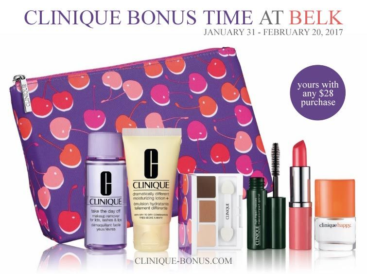Belk and Bonton offer this Clinique GWP. Yours with any $28 purchase. http: