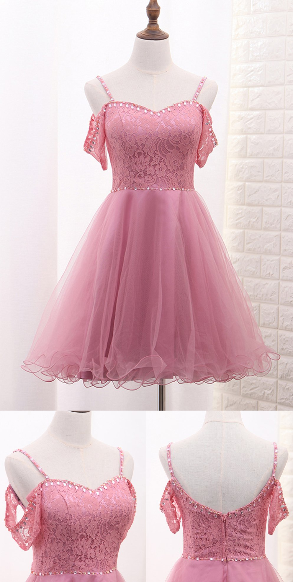 Chic Tulle Lace Spaghetti Strap With Beading Homecoming Dress M485 ...