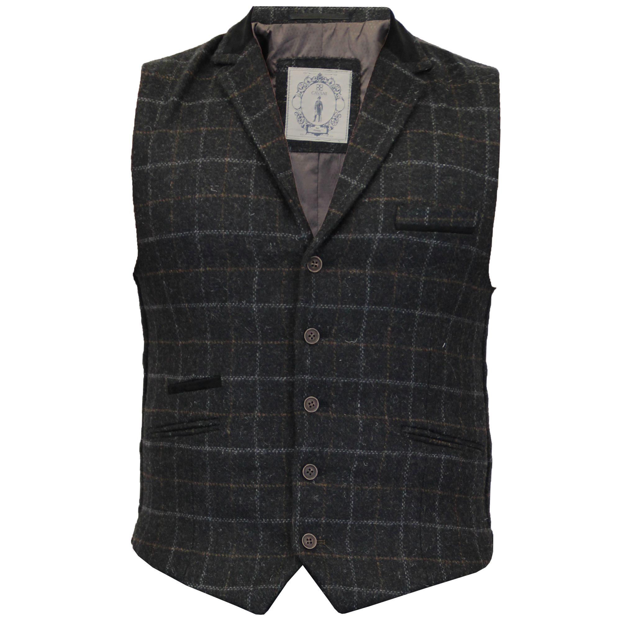 935cf34262b Mens Waistcoat Wool Mix Cavani Formal Vest Herringbone Tweed Check Casual  Party