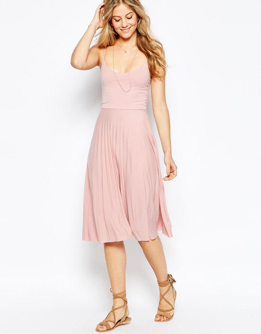 ASOS - Robe caraco mi-longue plissée | Wear Pink : du rose partout ...