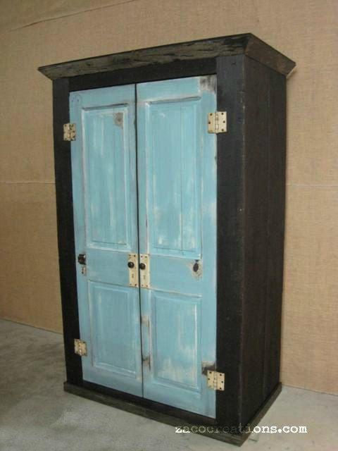 Oversized Reclaimed Wood Storage Armoire / Wardrobe  Ebony With Cottage  Blue Doors