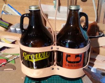Leather Growler Carrier, Leather Beer Carrier