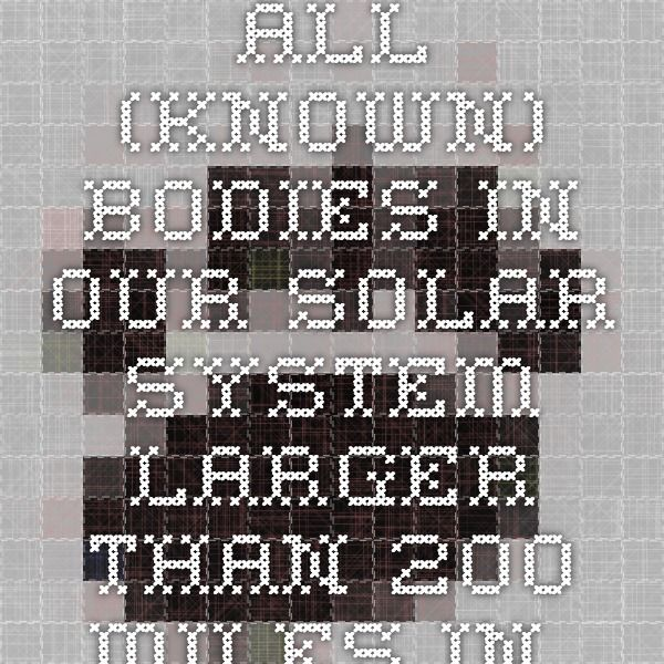 All (known) bodies in our solar system larger than 200 miles in diameter.
