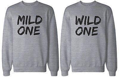 c50626c82243 Mild One and Wild One BFF Matching Grey Sweatshirts for Best Friends ...