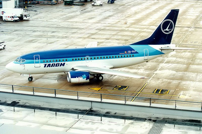 TAROM   Boeing 737-500   YR-BGT   hybrid Estonian Air livery   London Heathrow