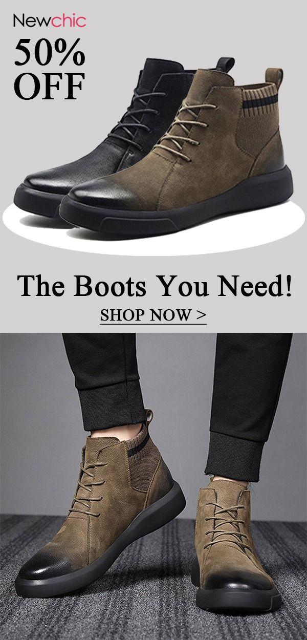 Leder Stiefel Männer High Top männer Casual Schuhe Non slip