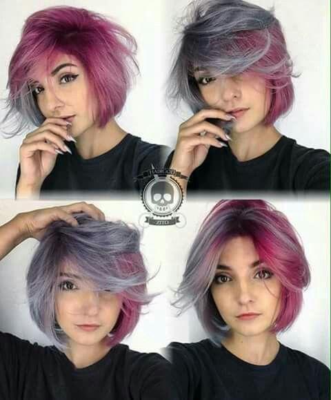 Half Colored Purple Gray Hair Hair Styles Short Hair Color Pink Hair