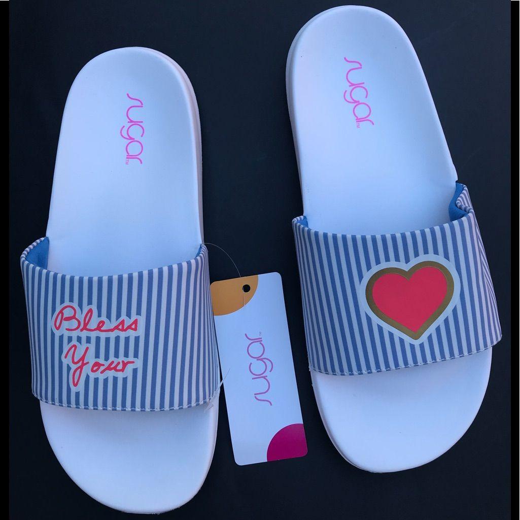 Sugar Shoes | Sugar Women Blue And White Stripes Slide