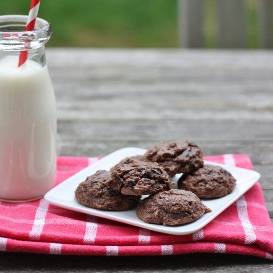 Double-Chocolate Cookies - a soft and chewy light cookie recipe