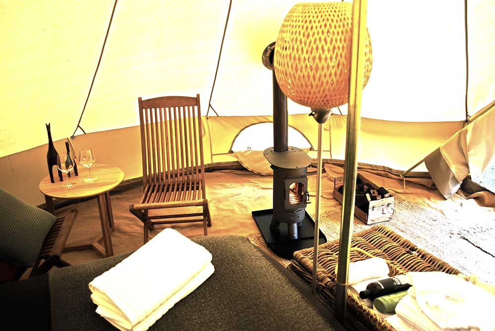 Inside our bell tents - winter time heating included ...