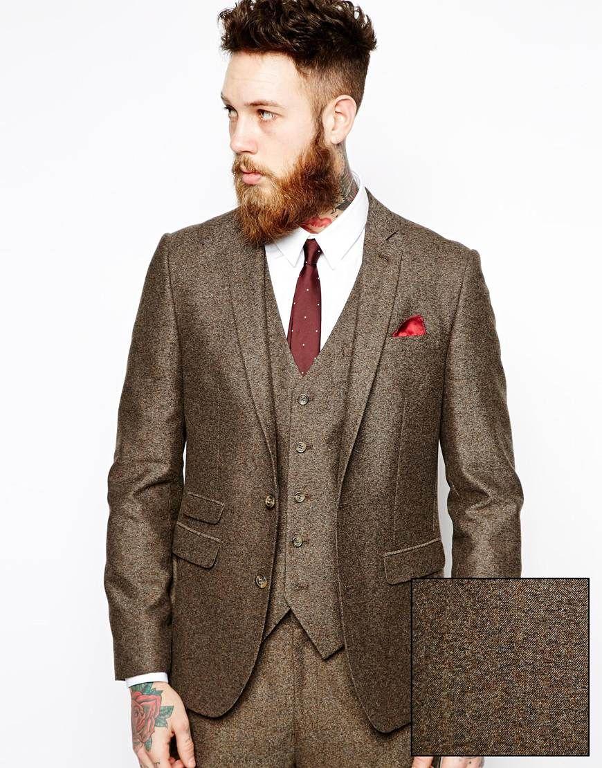 Asos Mens Slim Suit Jacket In Herringbone Brown - Coats & Outerwear
