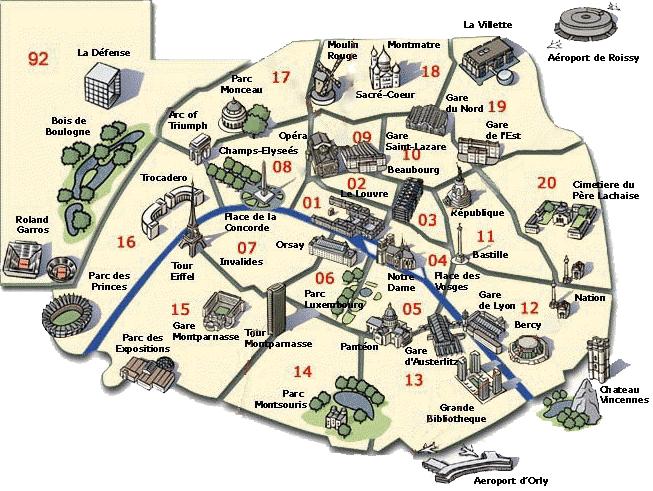 Parigi Cartina Arrondissement.Paris International Guides And Tours Mappa Dei Monumenti Famosi A Parigi Parigi Mappa Parigi Tours