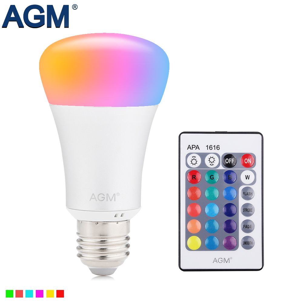 AGM RGB LED Bulb Night Light 10W E27 Luminaria Dimmer 16 Colors ...